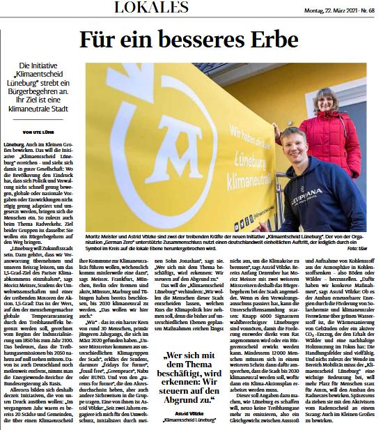 """Artikel Landeszeitung 22.03.2021 """"Für ein besseres Erbe"""""""